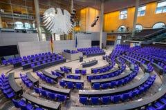 BERLIJN, DUITSLAND - jenuary 5, 2018: Binnenland van Plenaire Zaalvergaderzaal van het Duitse Parlement Deutscher Bundestag royalty-vrije stock foto