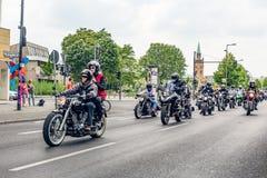 Berlijn, Duitsland - Mei 28, 2016: Motorfietsparade in Berlijn tegen violance Royalty-vrije Stock Afbeelding