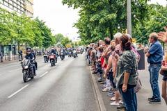 Berlijn, Duitsland - Mei 28, 2016: Motorfietsparade in Berlijn tegen violance Royalty-vrije Stock Afbeeldingen