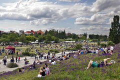 Domingo no parque Berlim Alemanha de Mauer imagens de stock royalty free