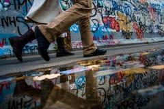 Berlim, Alemanha - 21 de setembro de 2015: Berlin Wall East Side Gallery fotografia de stock
