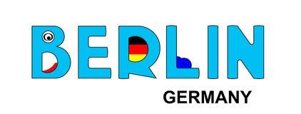 Berlim - Alemanha, inscrição abstrata no azul Fotos de Stock Royalty Free