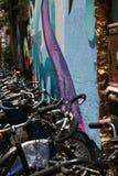 Berlim, Alemanha, o 13 de junho de 2018 Uma pintura mural colorida em um parque de estacionamento da bicicleta em um pátio de Ber foto de stock