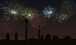 Berlim na noite à véspera de Ano Novo ilustração do vetor