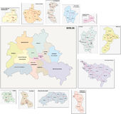 Berlin administrative map Royalty Free Stock Photos