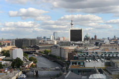 Berlin aerial view. Aerial view from Reichstag Cupola to Berlin with the river Spree. (Germany Royalty Free Stock Photo