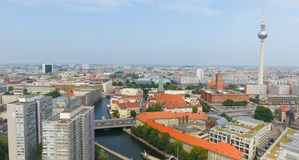 Berlin aerial view with river and Tv Tower Royalty Free Stock Images