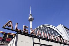 Berlin: Alexanderplatz, Fernsehturm and neon sign Stock Photo