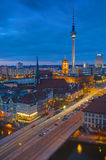 Berlin Alexanderplatz at night Royalty Free Stock Photos