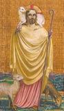 BERLIN, ALLEMAGNE, FÉVRIER - 15, 2017 : Le fresque de Jésus en tant que bon berger dans la basilique de Rosenkranz Image libre de droits