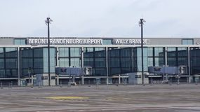 BERLIN, ALLEMAGNE - 17 janvier 2015 : JUJUBES de Berlin Brandenburg Airport, encore terminal en construction et vide Images libres de droits