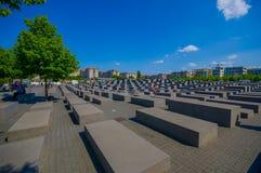 BERLIN, ALLEMAGNE - 6 JUIN 2015 : Monument triste sur Berlin aux juifs assassinés de l'Europe, aussi le mémorial d'holocauste Photographie stock