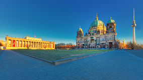 Berlin with Altes Museum Lustgarten view of the cathedral and TV Stock Photos