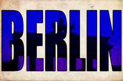 Berlin amazing 3d text Brandenburg gate Royalty Free Stock Photo