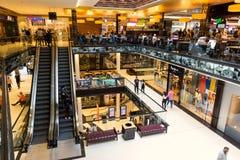 New Berlin shopping mall. BERLIN - APRIL 28, 2018: Interior view of the new Mall of Berlin shopping centre at Leipziger Platz. The mall has various shopping Stock Image