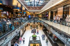 Mall of Berlin shopping centre at Leipziger Platz. BERLIN - APRIL 28, 2018: Interior view of the new Mall of Berlin shopping centre at Leipziger Platz. The mall Stock Photos