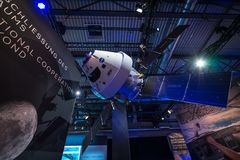 Exhibition ILA Berlin Air Show 2018. BERLIN - APRIL 26, 2018: Space Pavilion. Mockup of the European Service Module ESM, one of the component of the Orion Royalty Free Stock Photography