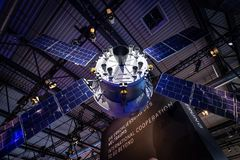 Exhibition ILA Berlin Air Show 2018. BERLIN - APRIL 26, 2018: Space Pavilion. Mockup of the European Service Module ESM, one of the component of the Orion Royalty Free Stock Photos