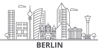 Berlin architecture line skyline illustration. Linear vector cityscape with famous landmarks, city sights, design icons Royalty Free Stock Photography