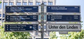 Berlin attraction signs on unter den linden Stock Image