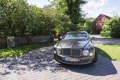 BERLIN - AUGUST 17, 2014: Bentley Mulsanne at the test drive event for automotive journalists. Bentley Mulsanne is royalty free stock photo