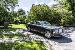 BERLIN - AUGUST 17, 2014: Bentley Mulsanne at the test drive event for automotive journalists. Bentley Mulsanne is stock photo