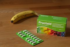 Box of Fructaid Capsules and a Blister Pack. A medicine that helps people with Fructose Intolerance / Malabsortion to digest fruit