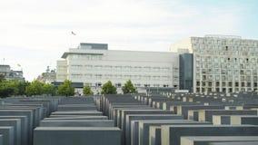 BERLIN - AUGUST 21: Real time pan shot of Holocaust Memorial, people