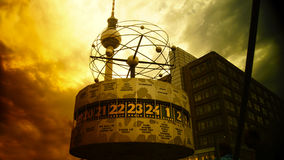 BERLIN - August: World clock in Alexanderplatz, Germany. BERLIN - August: World clock in Alexanderplatz. Alexanderplatz is a large square and transport hub Royalty Free Stock Photo