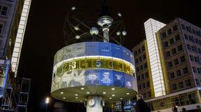 BERLIN - August: World clock in Alexanderplatz, Germany. BERLIN - August: World clock in Alexanderplatz. Alexanderplatz is a large square and transport hub Royalty Free Stock Photos