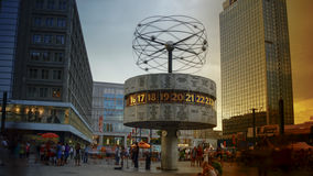 BERLIN - August: World clock in Alexanderplatz, Germany. BERLIN - August: World clock in Alexanderplatz. Alexanderplatz is a large square and transport hub Royalty Free Stock Image