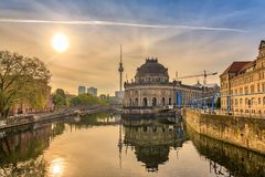 Berlin. Sunrise city skyline at Museum Island and e TV Tower, , Germany Stock Image