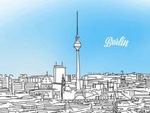 Berlin Black ed insegna bianca di panorama Fotografia Stock Libera da Diritti