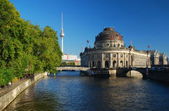 Berlin, Boden Museum and Fernsehturm. Berlin, Germany. View of the Museuminsel on the river Spree, television tower on the background stock image