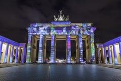 Berlin Brandenburg-de Piek van poortbrandenburger bij zonsondergang Royalty-vrije Stock Foto