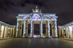 Berlin Brandenburg-de Piek van poortbrandenburger bij zonsondergang Stock Afbeelding