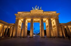 Berlin Brandenburg Gate Brandenburger Tor. At sunset in Germany Stock Photography