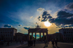 Berlin Brandenburg Gate with  clouds  Royalty Free Stock Photos