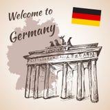 Berlin Brandenburg Gate disegnato a mano Fotografia Stock Libera da Diritti