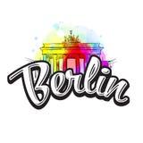 Berlin Brandenburg Gate Drawing avec le titre illustration de vecteur