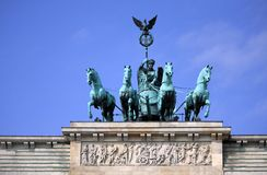 Berlin - Brandenburg Gate. Quadriga on top of the Brandenburg Gate in Berlin Stock Images