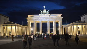 Berlin, Brandenburg Gate with tourists stock video