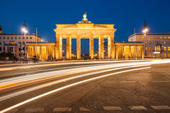 Berlin Brandenburg Gate with traffic Royalty Free Stock Photo