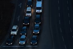 Cars at night on the strees of berlin germany royalty free stock image