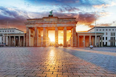Berlin, brandenburg at sunrise, Germany Royalty Free Stock Photography