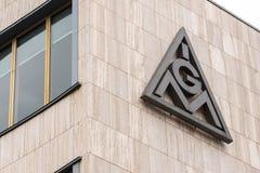 Berlin brandenburg/Tyskland - 15 03 19: IG Metall byggnad i berlin Tyskland arkivbild