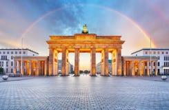 Berlin Brandenburger gate with rainbow Stock Photo
