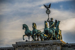 Berlin brandenburger tor. Statue of greek goddess victoria on the top of the brandenburger tor Royalty Free Stock Image