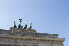 Berlin, Brandenburgertor a detail shot. A detail of the brandenburgerTor, the symbol of Berlin. Used to be located in the eastern part of Berlin, surrounded by Royalty Free Stock Photography