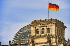 Berlin Bundestag. Detail with flag Stock Images